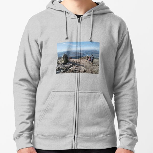 Hikers pass a navigation cairn as they descend back down Ben Nevis Zipped Hoodie
