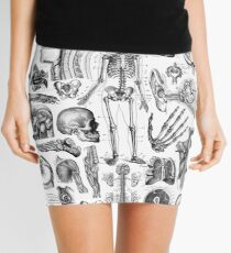 Human Anatomy White Print Mini Skirt