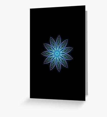 Fractal Flower - Blue Greeting Card