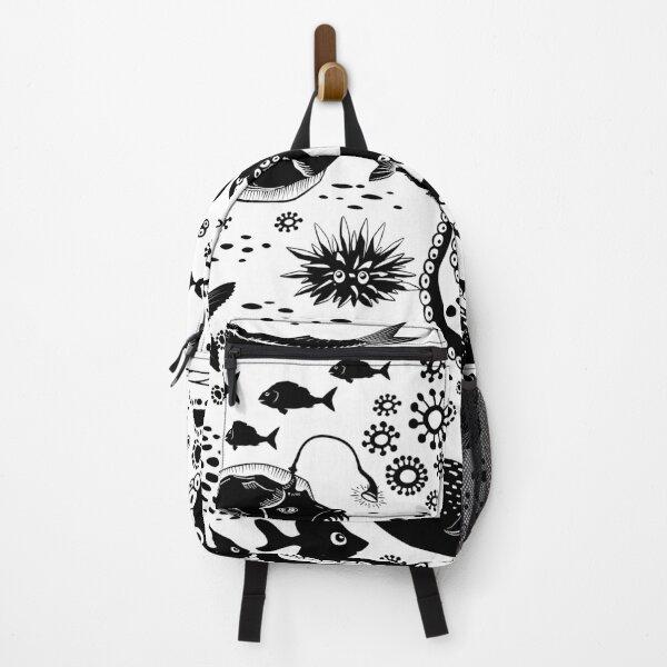 Monochrome Doodle Underwater Marine Life Backpack