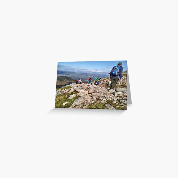 Climbers make their way up the steep path on Ben Nevis Greeting Card