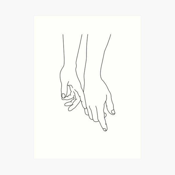 Touching hands  Art Print