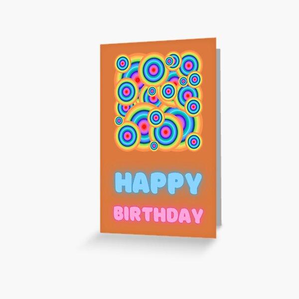 Happy Birthday Retro Psychedelic Trippy Orange Greeting Card
