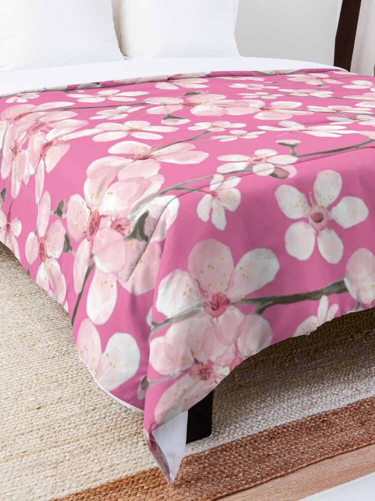 Alternate view of Pink Cherry Blossom watercolor Comforter