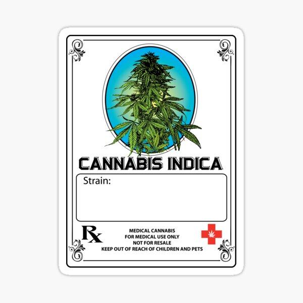 Cannabis Indica Jar Label Sticker