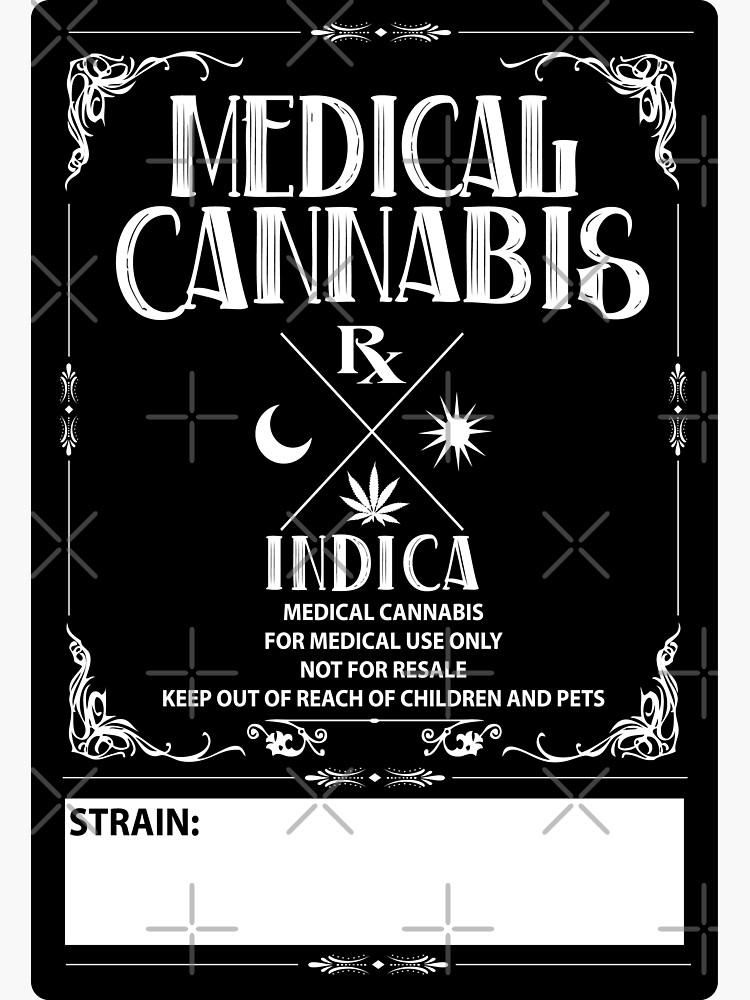 Estilo cannabis medicinal de la vendimia Indica Label de kushcoast