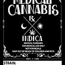 Medical Cannabis vintage style Indica Label by kushcoast