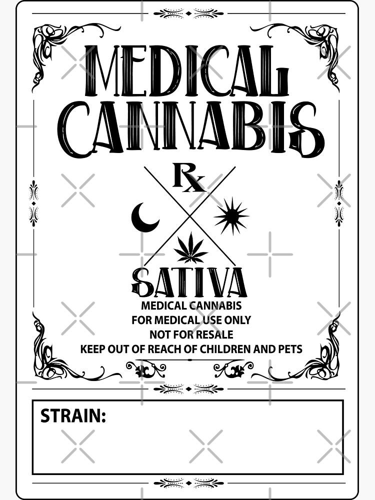 Estilo vintage de cannabis medicinal Sativa Label de kushcoast