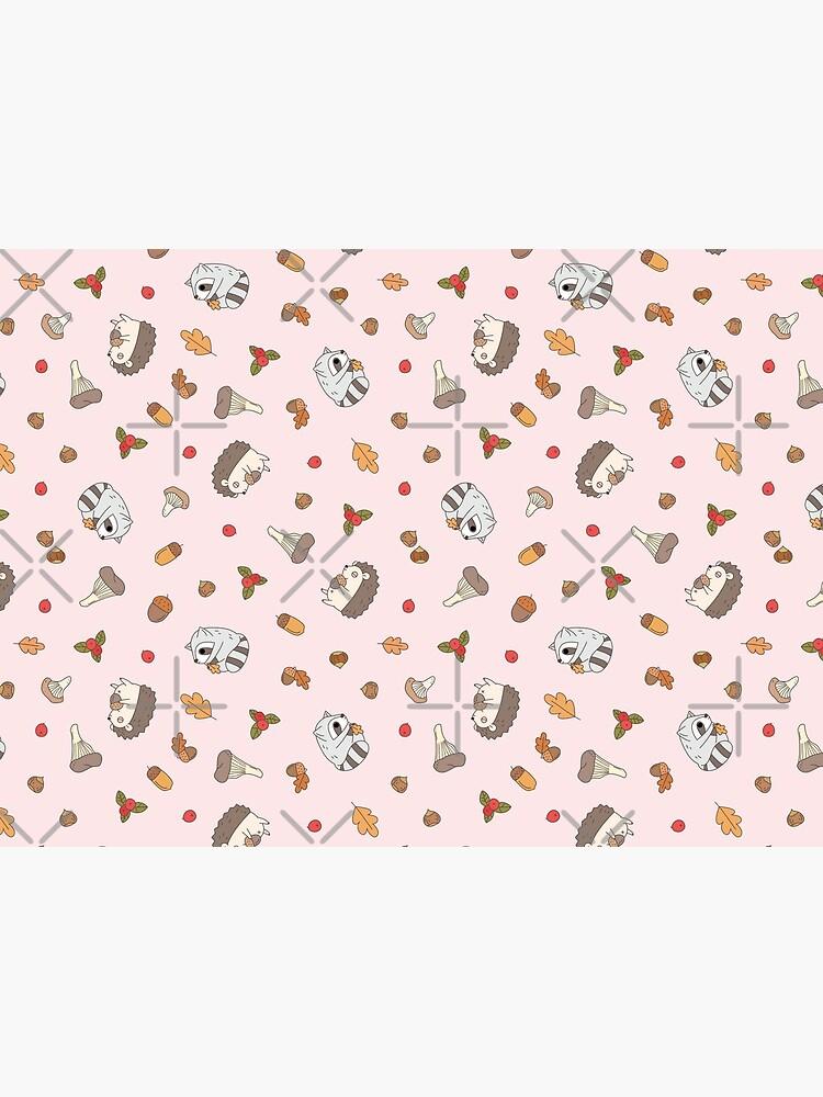 woodland animals pattern, hedgehog and raccoon pattern  by Miri-Noristudio