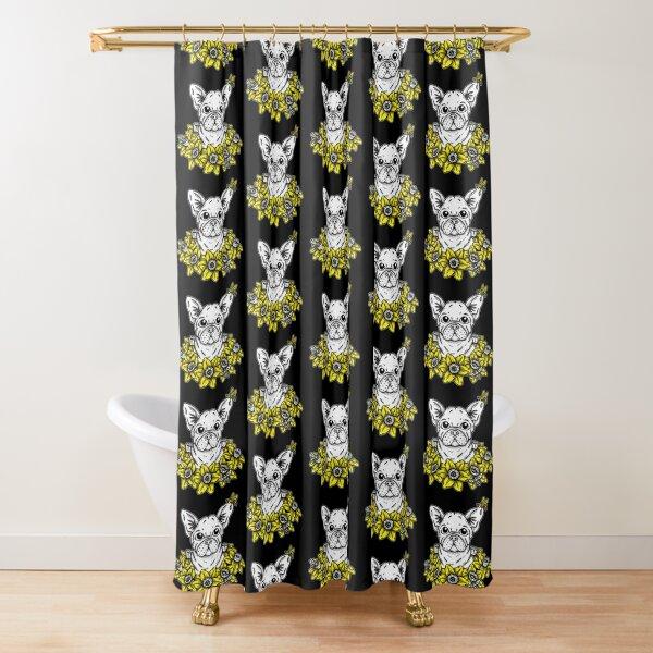 French Bulldog with Daffodils Shower Curtain