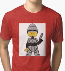 Illustration of a Tyrannosaurus Rex dressed as Robocop. Tri-blend T-Shirt