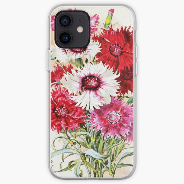 Vintage L'Œillet de Chine Royal Dahlia Botanical Print from the Biodiversity Heritage Library iPhone Soft Case