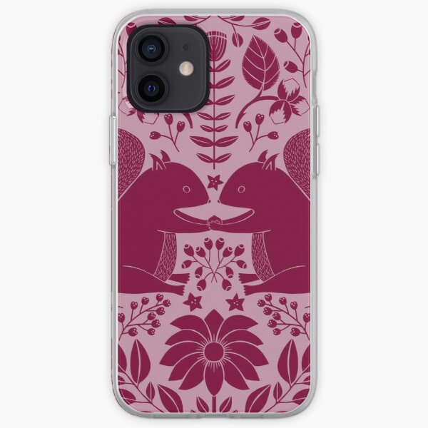 Squirrels sharing a hazelnut, intricate flowers and leaves in a circle - Red and rose iPhone Soft Case