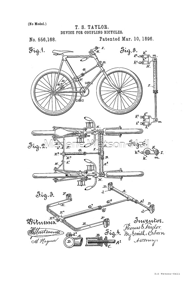 Fahrradkoppler Patent Circa 1896 von Marlene Watson