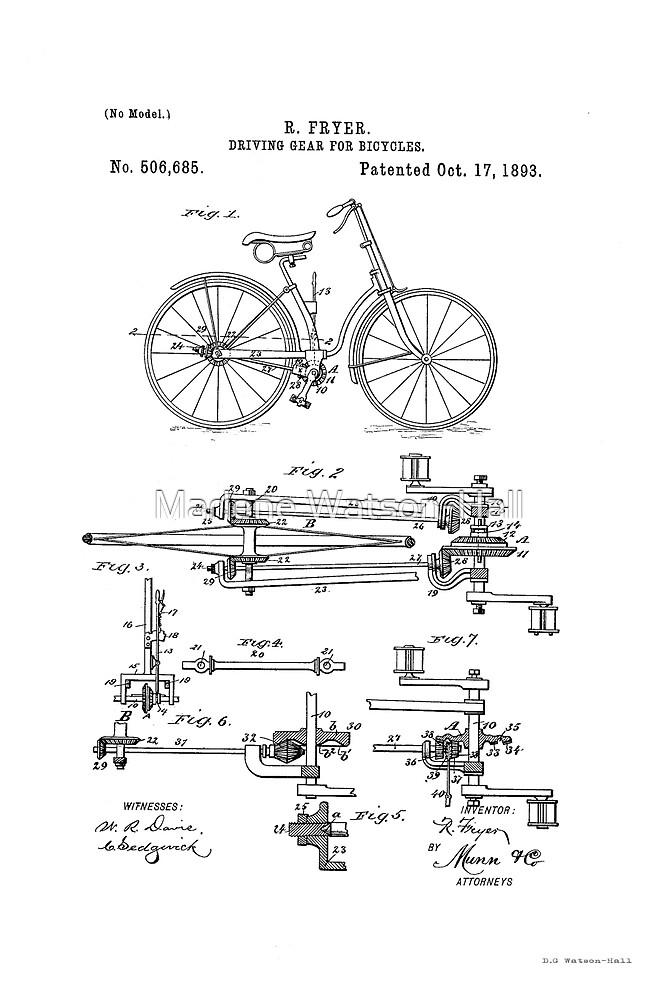 Fahrradantriebsrad Patent Circa 1893 von Marlene Watson
