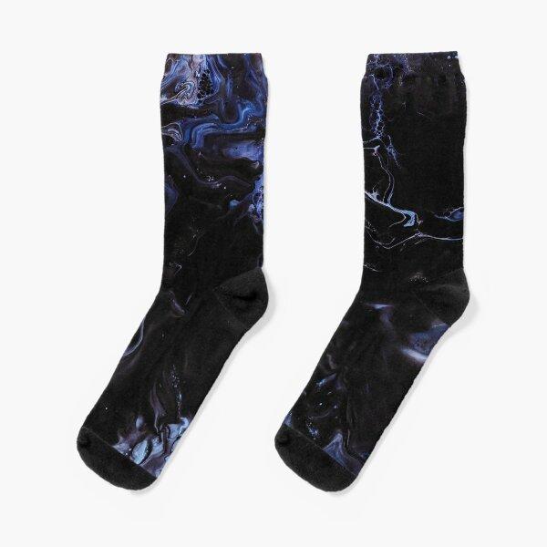 Dark blue acrylic abstract Socks