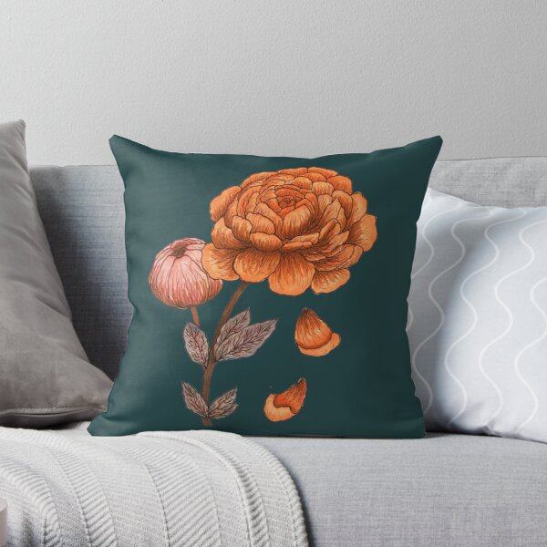 Coral and Orange Peonies Throw Pillow