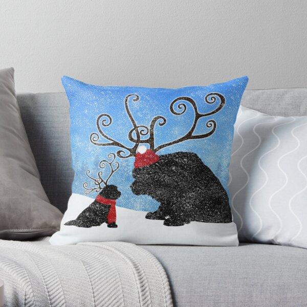 Reindeer Newfies Throw Pillow
