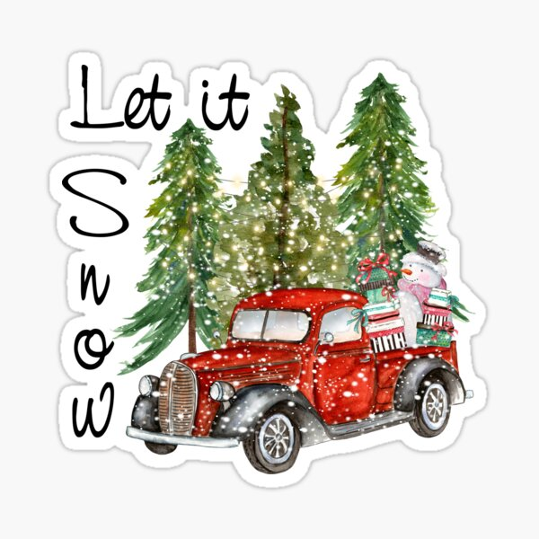 Christmas Holiday Red Vintage Truck Let It Snow Snowman Vintage Christmas Sticker