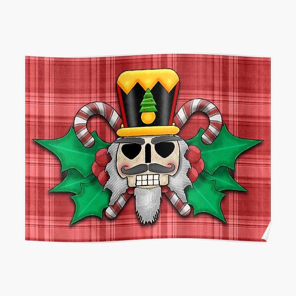 Nutcracker Skull on Red Plaid Christmas Design Poster