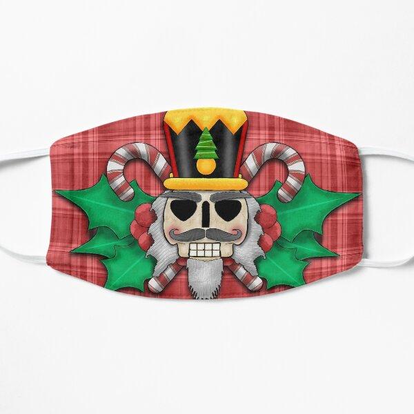 Nutcracker Skull on Red Plaid Christmas Design Flat Mask