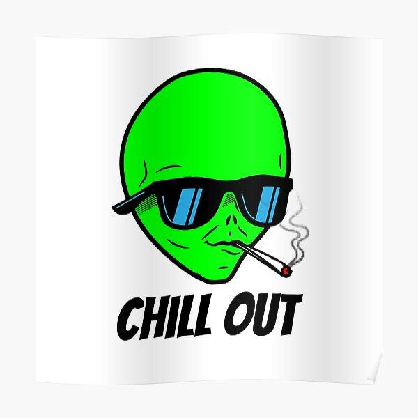 Alien smoking weed Poster