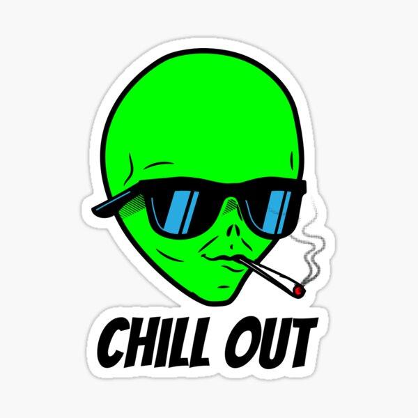 Alien smoking weed Sticker