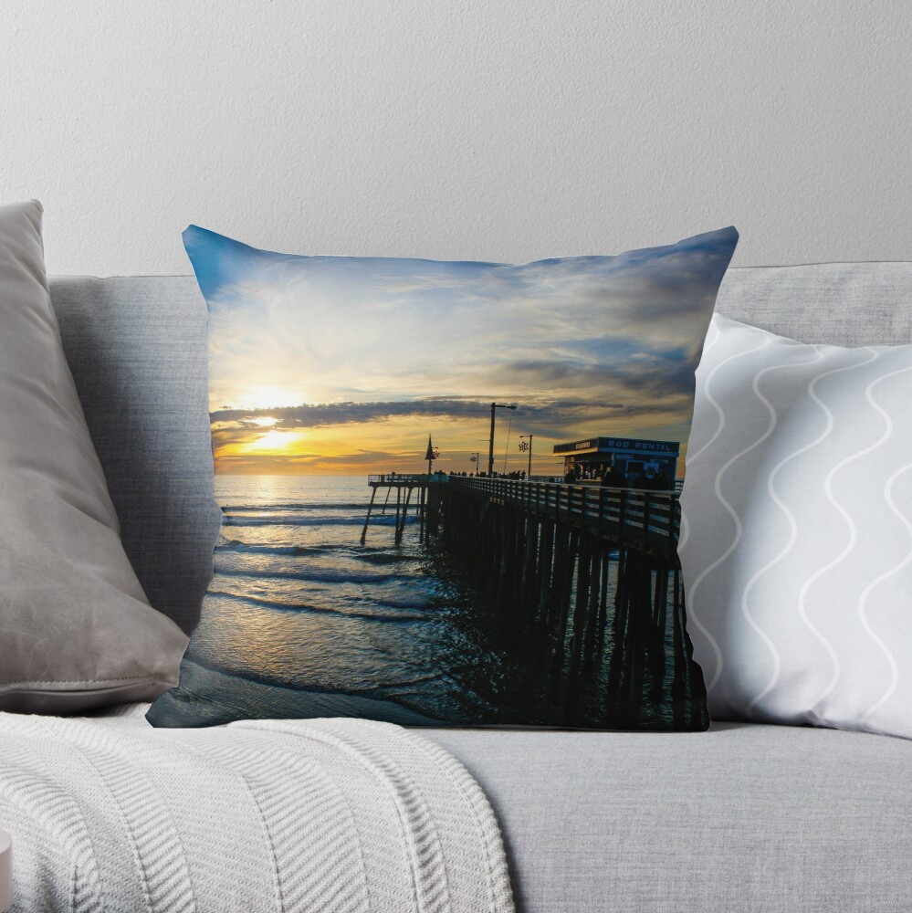 Pismo Beach Pier Sunset Throw Pillow