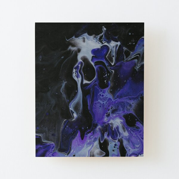 Dark violet and blue Dutch pouring Wood Mounted Print