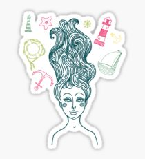 Mermaid with long curly hair Sticker