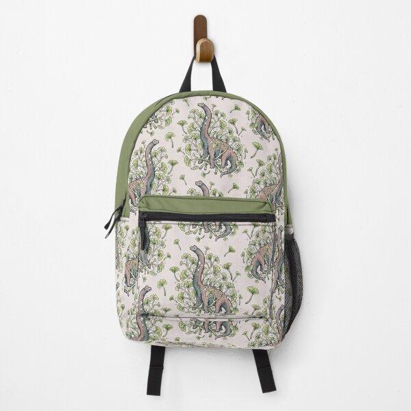 Brachio Ginkgo   Calm Color Palette   Dinosaur Botanical Art Backpack