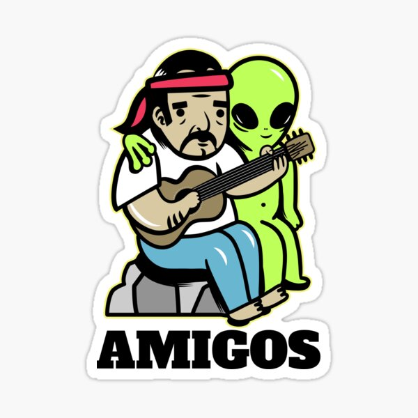 Hippie and alien Sticker