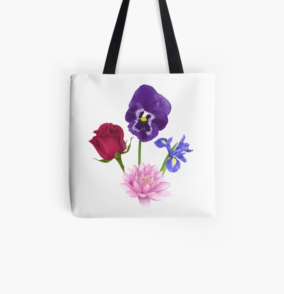 Roses/Lotus/Violet/Iris All Over Print Tote Bag