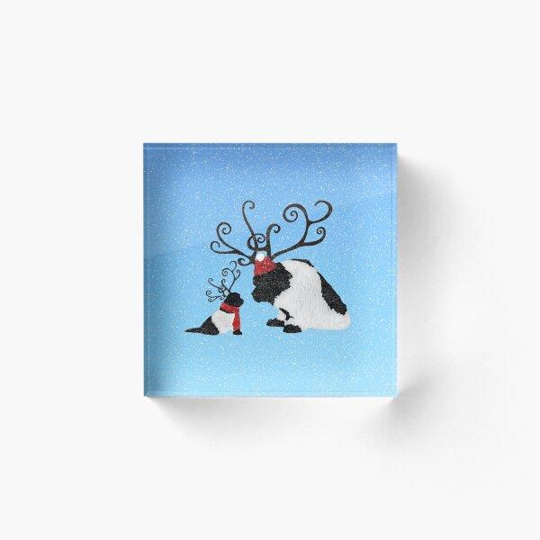 Landseer Newfoundland Reindeer  Acrylic Block