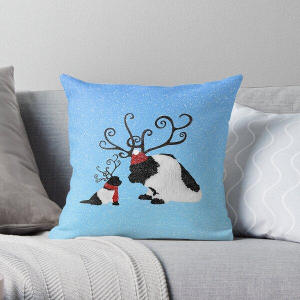Landseer Newfoundland Reindeer  Throw Pillow