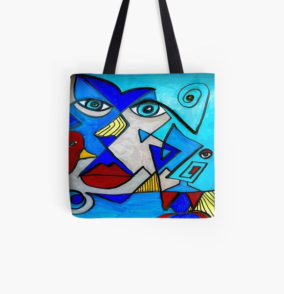 Abstract Blue Face All Over Print Tote Bag