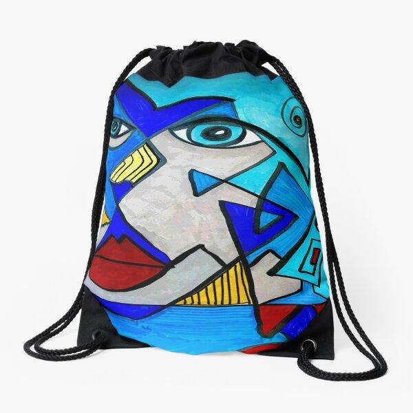Abstract Blue Face Drawstring Bag