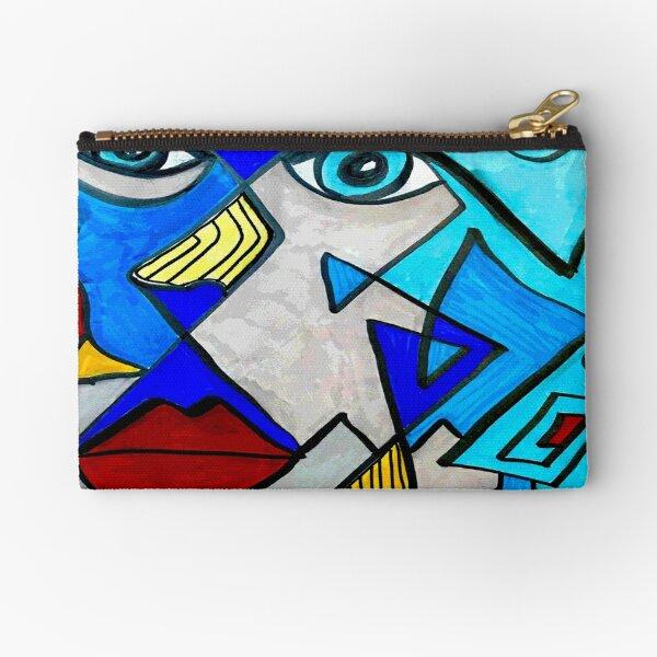 Abstract Blue Face Zipper Pouch