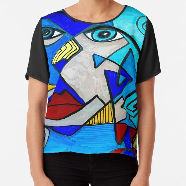 Abstract Blue Face Chiffon Top