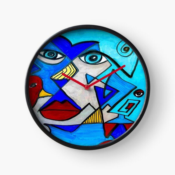 Abstract Blue Face Clock