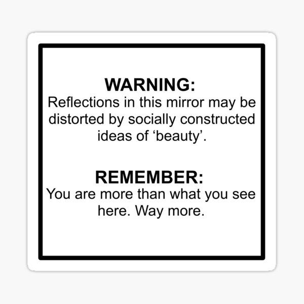 mirror warning beauty standards Sticker