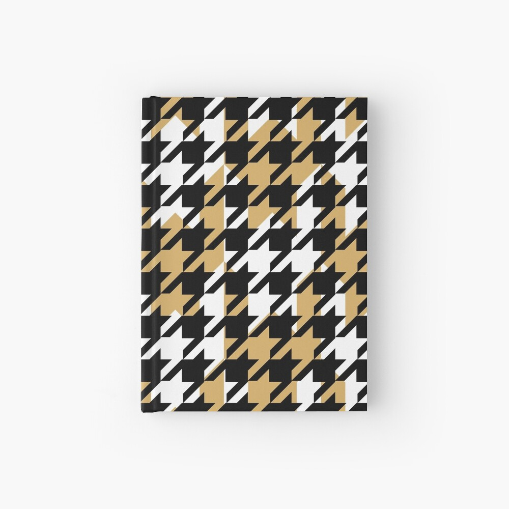 Double houndstooth pattern in black, white and butterscotch combo Hardcover Journal