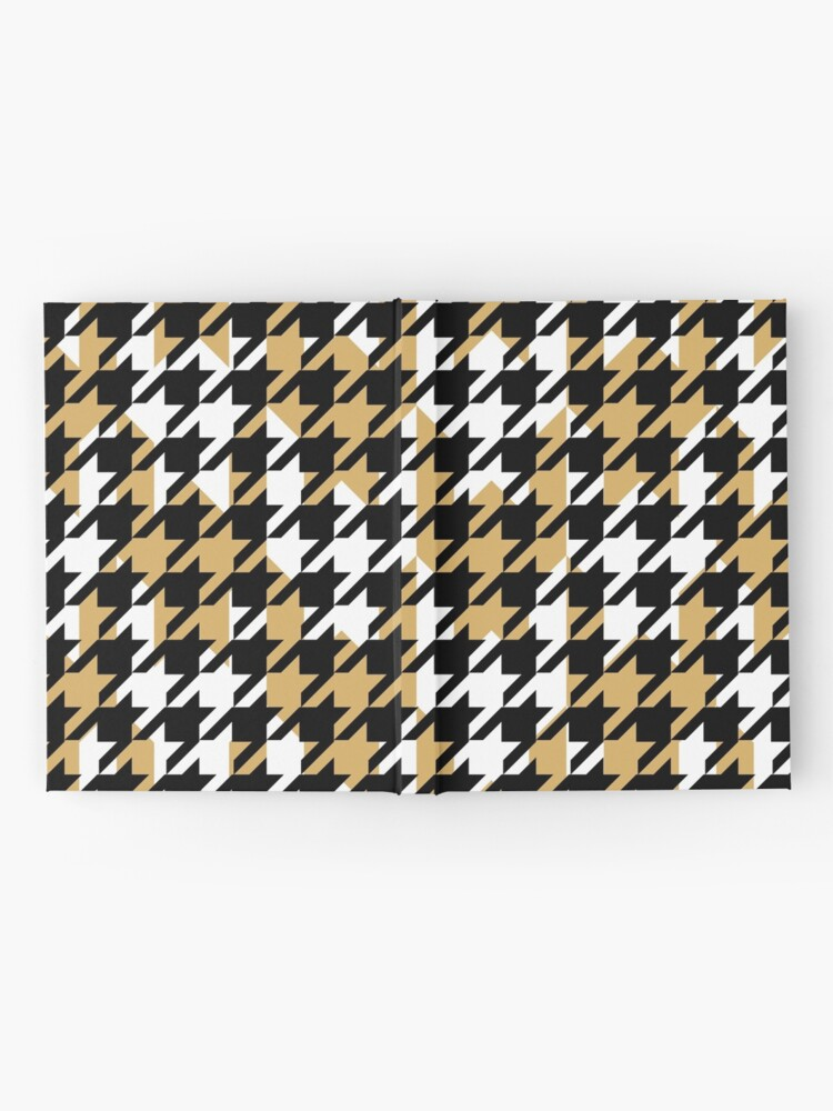 Alternate view of Double houndstooth pattern in black, white and butterscotch combo Hardcover Journal