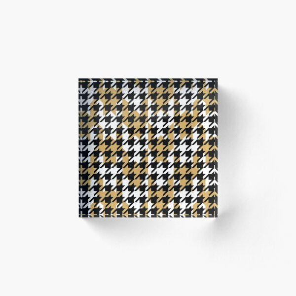 Double houndstooth pattern in black, white and butterscotch combo Acrylic Block