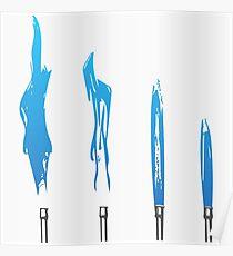Flames of Science (Bunsen Burner Set) - Blue Poster
