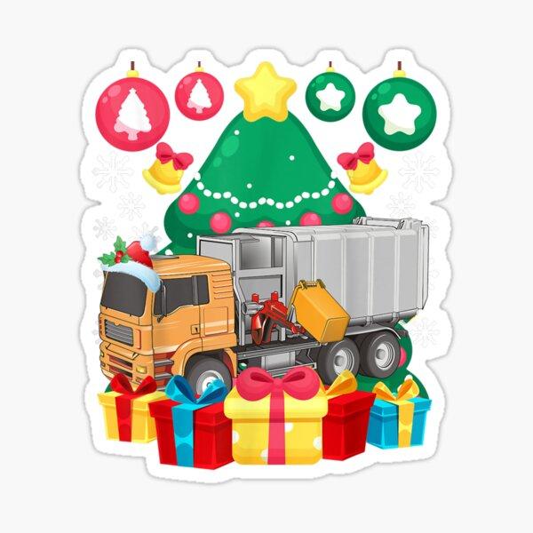 Garbage Truck Christmas Tree Lights Ornaments Xmas Pajamas Sticker