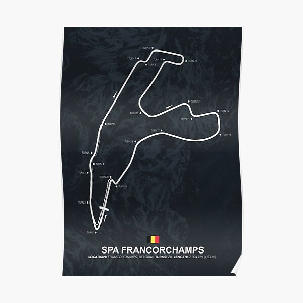 Spa Francorchamps - Racetrack Map Poster