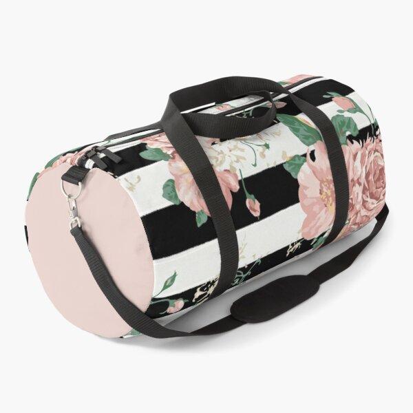 VINTAGE FLORAL ROSES BLACK AND WHITE STRIPES Duffle Bag