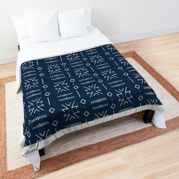 Indigo blue mudcloth ethnic pattern 2 Comforter