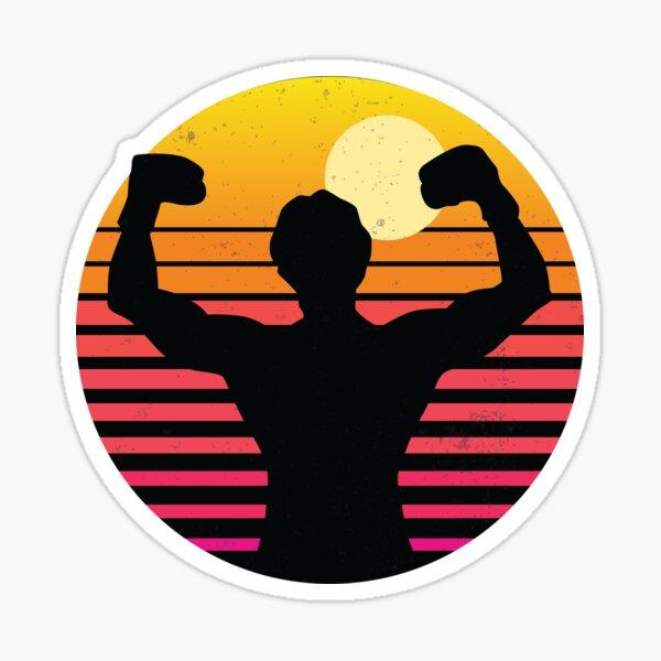 Rocky Balboa sur un coucher de soleil rétro vintage. Fans de Rocky Balboa Sticker